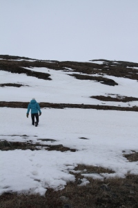 Hiking to the top of a hill in Iqaluit to get a good view of the town.