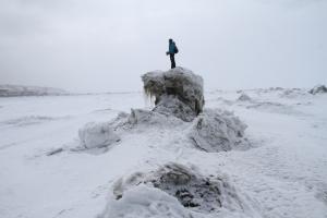 climbing sea ice
